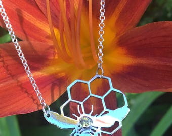 Sterling Silver Honey Bee Necklace, Honeybee jewelry, Honeycomb Necklace, Hand Sawn, Pierced, with 3mm topaz