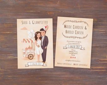 CUSTOM WEDDING INVITATION - married couple original illustration, Portrait and design