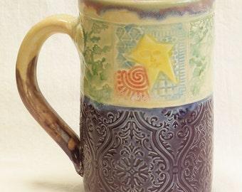 ceramic dancing star coffee mug 16oz stoneware 16D069
