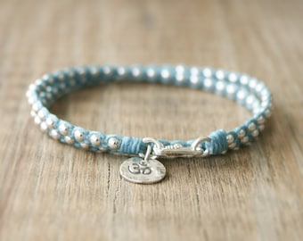 Yoga Beaded Bracelet - Irish Waxed Linen Wrap Bracelet with Sterling Silver Beads and Sterling Om Charm