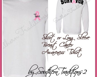Breast Cancer Awareness T shirt -  Short or Long Sleeve - Show your Pink Tee - Monogram Awareness Ribbon