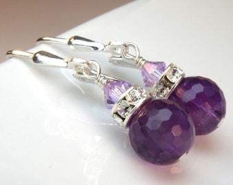 Amethyst Earrings, Purple Natural Stone Jewelry, Genuine Amethyst Gemstone, Sterling Silver, February Birthstone, Wedding Jewelry, Handmade
