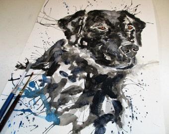Labrador art, dog painting, labrador painting, dog art print, labrador, black lab, gundog