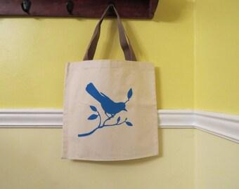 Birdy Screenprint on a Canvas Tote / Bird Bag / Blue Bird Bag / Book Bag /  Library Bag