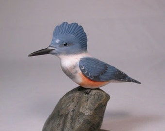 Female Belted Kingfisher male Hand Carved wooden Bird