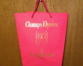 Vintage 1990s Champs Elysees by Guerlain Perfume Promotional Paper Shopping Bag Designer Fragrance Collectible