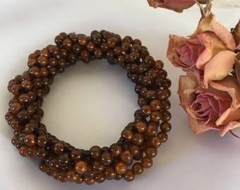 Vintage Bracelet. Brown Beaded Bracelet. Stretchy BRACELET With Brown Round Beads.