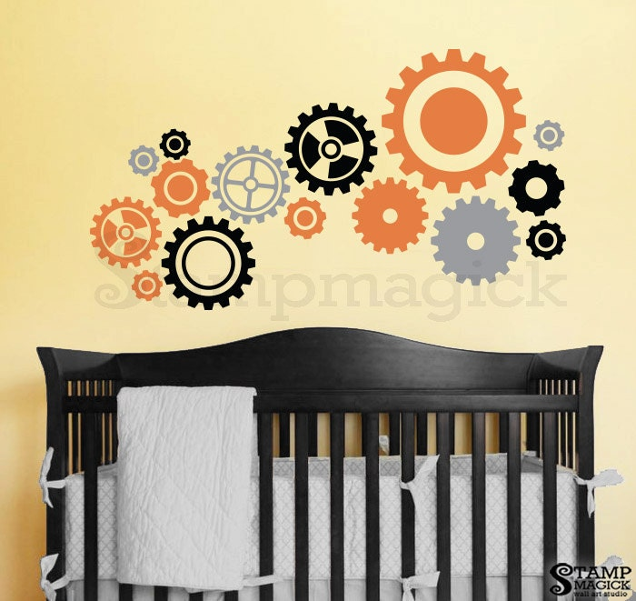 Gears Decal Gears Wall Decal Gears Wall Art Sticker cogs