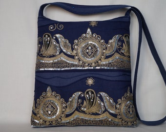 Peacock bag, golden bag, blue bag, medium bag, vintage bag, crossbody bag, festival bag, fantasy embroidered bag, boho bag, indian saree bag