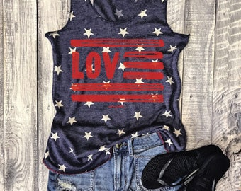 S-XL LOVE USA Vintage Washed Funny Tank in Faded Blue/Ivory Star, American, Patriotic, Graphic Tee, July 4th, Fourth