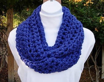 Solid Cobalt Blue Thick Infinity Scarf Bright Royal Blue Winter Bulky Crochet Knit Soft Wool Blend Chunky Loop Cowl, Ready to Ship in 2 Days