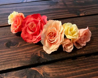 Mommy and Me Flower Crowns Sunset, Baby Shower, Maternity Photo Newborn Photo, Floral crown, Mother's Day, Matching Mother Daughter, First