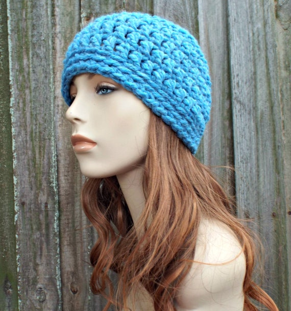 Sky Blue Beanie Blue Hat - Crochet Womens Hat Blue Mens Hat - Blue Womens Hat Warm Winter Hat - READY TO SHIP