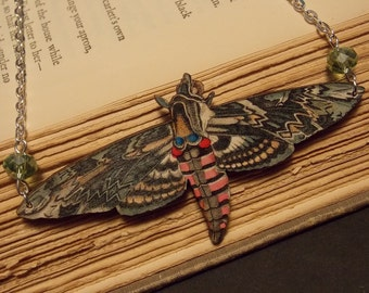 Wooden Moth Statement Necklace