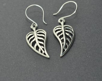 Sterling Silver Leaf Earrings, Sterling Silver Heart Earrings, Dangle Earrings, Skeleton