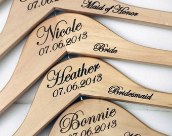 4 - Personalized Wedding Dress Hangers with Wedding Party Title Arm Inscription - Engraved Wood