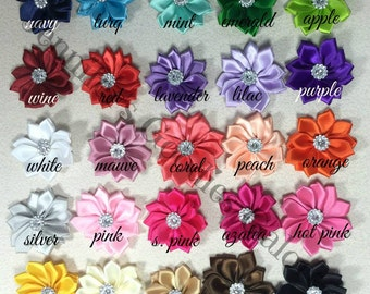 "Mini Multilayer Satin Flowers, You Choose Quantity and Color, Satin Ribbon Flower, 1.5"" Rosette Flower with Acrylic Rhinestone"
