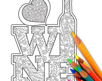 WINE Coloring Page, Coloring Sheet, Adult Coloring Page, Instant Download, Digital, Printable, Sheet, Page, Coloring
