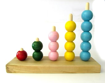 ON SALE Preschool Counting Bead Stacker - Bead Stacker Counting Board - Learn to Count Bead Stacker - MDH Toys Counting Beads Stacker
