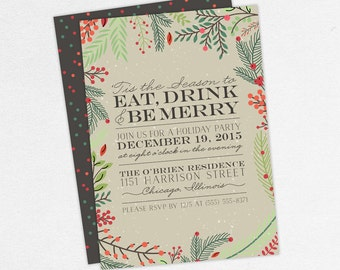 Eat Drink and Be Merry Invitations, Christmas Party Invitations, Holiday Party Invitations, Traditional Christmas Party Invitations, Printed