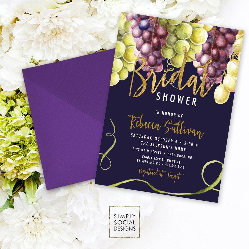 Wine bridal shower invitation grapes green grapes purple grapes wine bridal shower invitation grapes green grapes purple grapes wine grapes navy faux gold foil watercolor boho bridal shower printable filmwisefo