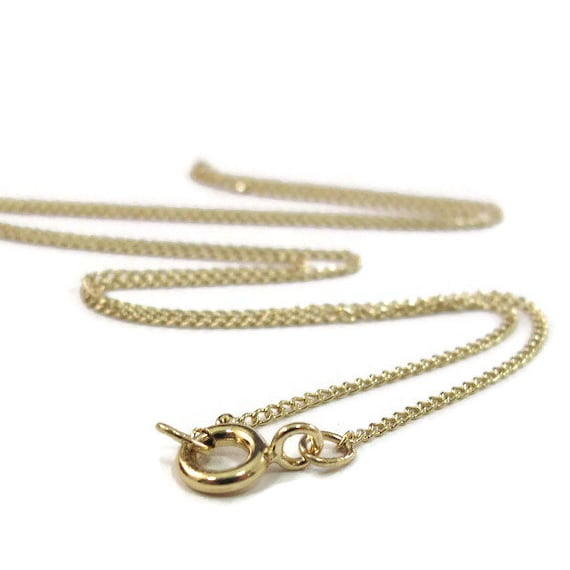 Simple Chain, Delicate Gold Finished Chain with Spring Ring Clasp 14Kt Gold Filled 1.1mm 16 Inch Curb Chain, Thin Gold Chain