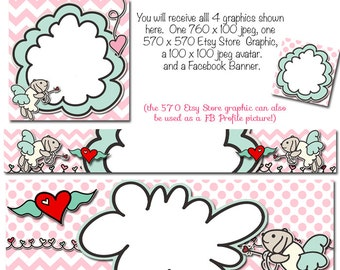 Valentines Etsy Banner and Facebook Set - Puppy Cupid  Customize for your Store for Valentines Day, Holiday Etsy Set, Valentines Facebook