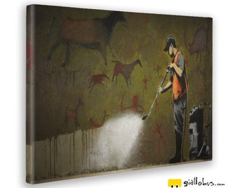 Modern paintings-Banksy-water cleaner rock painting-yellow BUS
