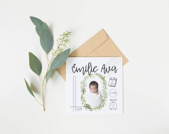 Birth Announcement | Wreath Greenery | Baby Infographic | Personalised Baby Announcement | Newborn Announcement | Digital File 5x7 | B