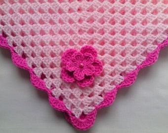 Crochet Baby Blanket, Afghan, Nursery Bedding Baby Girl Christening, Baptism gift pink flower