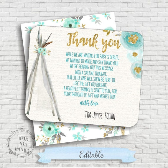 Tribal Baby Shower Thank You Card Boho Baby Shower Thank You