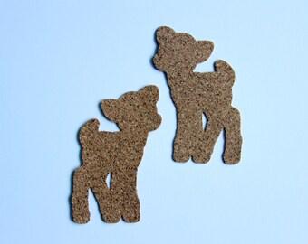 Cork | Deer Reindeer | 2pcs Scrapbook Cardmaking Project Life Embellishment