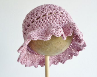 Floppy sun hat - baby - 3-6 months in  soft organic cotton - crochet bonnet - dusky pink