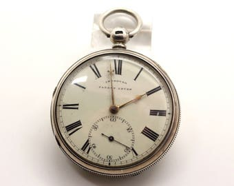 Victorian Solid Sterling Silver IMPROVED PATENT LEVER Fusee Pocket Watch Fully Hallmarked Chester 1875 for Repair