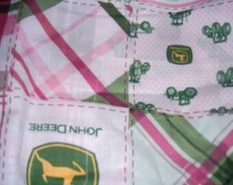 MadieBs John Deere Pink Plaid  Cotton Fabric Travel/Toddler Pillowcase