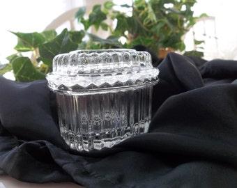 Homco Glass Heart Shaped Covered Trinket Dish