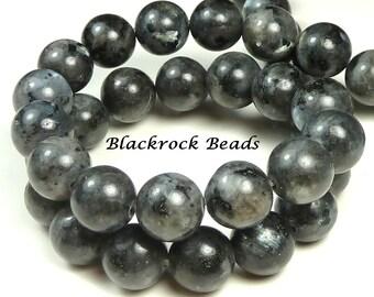 8mm Labradorite Natural Gemstone Beads - 15.5 Inch Strand - Black, Gray, Round, Opaque, Larvikite - BE12