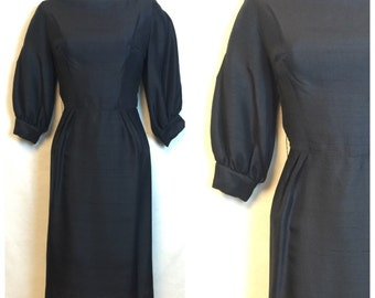 Vintage Black 60's silk dress
