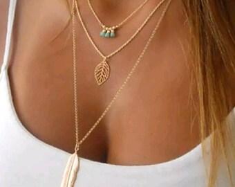 Leaf Necklace / Multi Strand Necklace / Gold / Chain Jewelry / Minimalist Jewelry / Boho / Hippie / Yoga