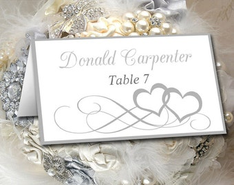 """Silver Wedding Place Card Template - Heart Escort Card Template """"Entwined Hearts"""" DIY Wedding Tent Place Cards - Wedding Reception Name Card"""
