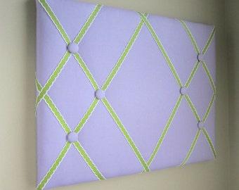 "16""x20"" French Memory Board, Bow Holder, Bow Board, Ribbon Board, Vision Board, Photograph Organizer, Lavender & Green Memory Board"
