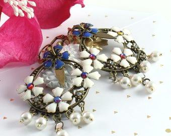 White Bohemian Gypsy Chandelier Earrings, blue, white flowers, Swarovski crystal pearls, brass