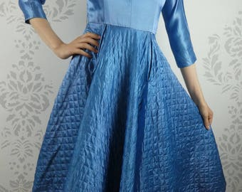 VINTAGE BLUE DRESS 1950s Satin Quilted Circle Skirt Size Extra Small