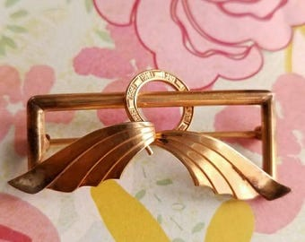 Vintage Wells gold filled brooch deco leaves