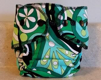 Fitted Preemie Newborn Cloth Diaper- 4 to 9 pounds- Black Swirls- 16050
