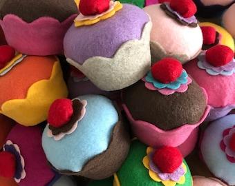 Felt Cupcake w/Cherry - Home Decor, Photo Prop, Play Food, Cupcake Party Favors, Bakery, Pin Cushions, Kitchen Decor, Fake Cupcake