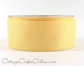 "Chevron Twill Tape, 1 1/2"" wide, Yellow and White Striped Ribbon - THREE YARDS -  May Arts Craft Ribbon, Sewing Trim"