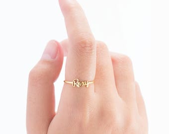 Dainty Custom Name Ring - Personalized Name Ring - Gold Name Ring - Minimal Name Jewelry - Custom Word Ring - Gold Personalized Word-PR7