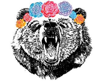 Beautiful, cool, colourful grizzly bear with rose headdress art print