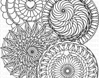 Mandala Adult Colouring Page Printable Instant Download #46